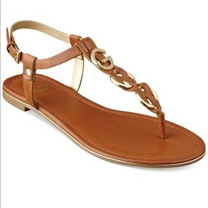 Guess G by Guess Brown T Strap Flat Sandals